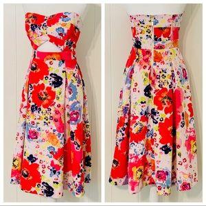 Rachel Roy Cutout Strapless Floral Dress